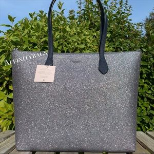 Kate spade large joeley Dusk blue glitter Tote NWT